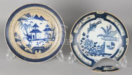 Two 18th century Chinese porcelain plates. One with