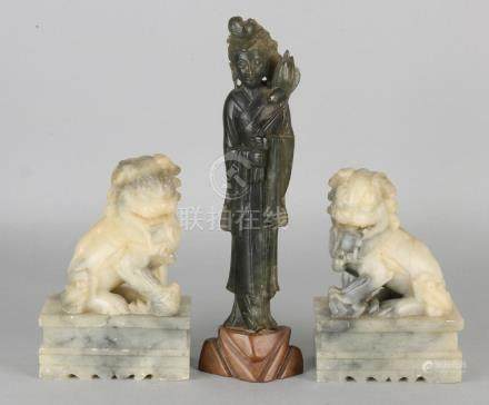 Three antique Chinese figures. Two natural stone temple