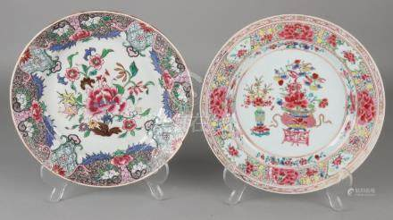 Two 18th century Chinese porcelain Family Rose plates
