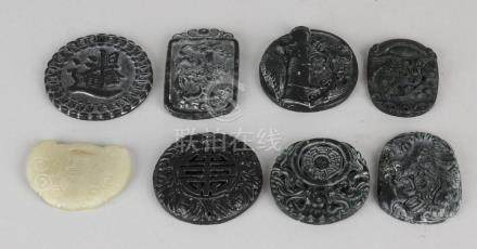 Eight old / antique Chinese natural amulets, diverse.