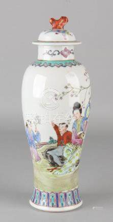 Antique Chinese republican porcelain Family Rose vase