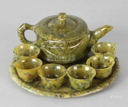 Antique Chinese Jade rice wine set. Circa 1900.