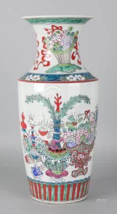 Large old Chinese porcelain vase with Kang Xi. Soil