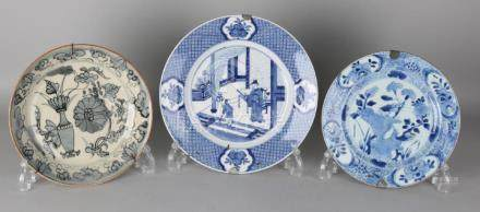 Three old / antique Chinese porcelain plates. One time