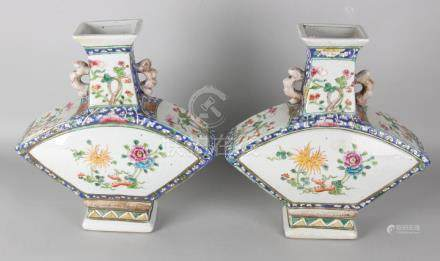 Two large old Chinese porcelain family Rose vases in