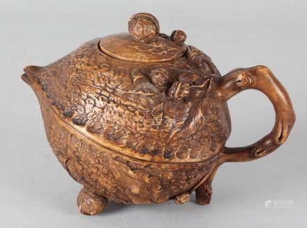 Old Chinese Yixing teapot in hazelnut shape, marked,