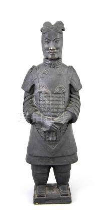 Old Chinese terracotta figure. Black glaze mat. 20th