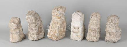 Six antique Chinese stone sculpted Foo-dogs /