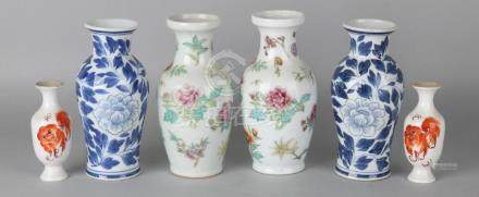 Three old Chinese porcelain vases sets with floral