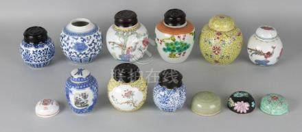 Lot of various Chinese ginger jars + 9x various lids.