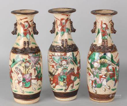Set of three antique Chinese Cantonese vases with