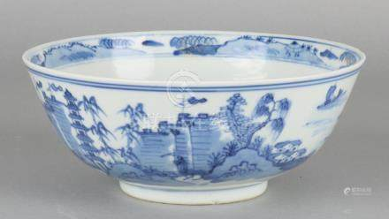 Large antique Chinese porcelain bowl with round pagodas