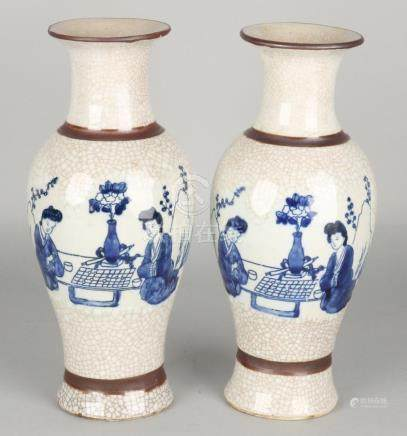 Two antique Chinese / Cantonese autographed porcelain