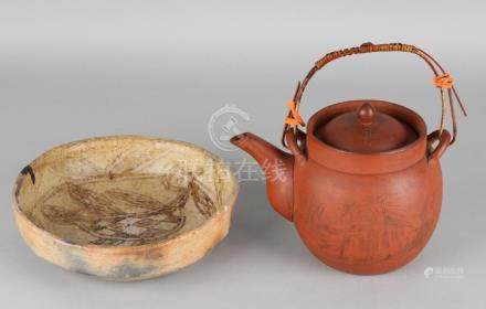 Large branded Chinese Yixing teapot with landscape