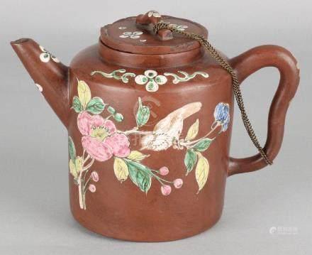 Large antique Chinese Yixing teapot with enamel decor,