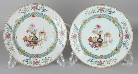 Two rare 18th century Chinese porcelain Family Rose