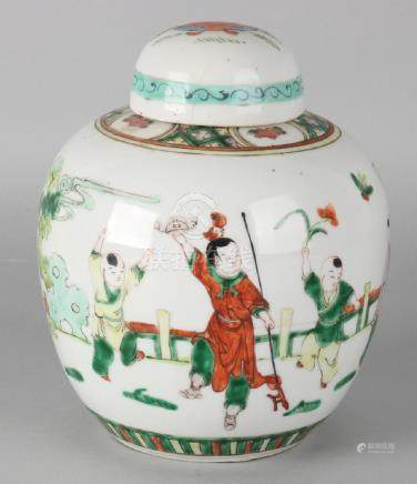 Large antique Chinese porcelain ginger jar with Chinese