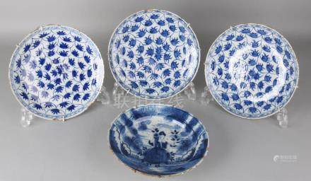 Four 18th century Delft Fayence plates with floral +