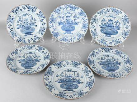 Six beautiful 17th-18th century Chinese porcelain Kang