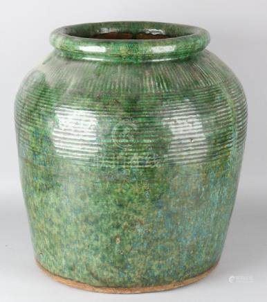 Large old / antique Chinese celadon vase with ribs.