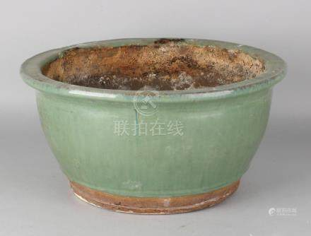 Large old / antique Chinese celadon flower pot. 20th