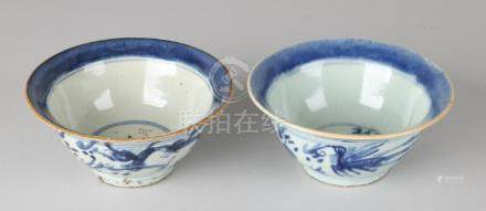 Two antique Chinese porcelain hooded bowls with floor