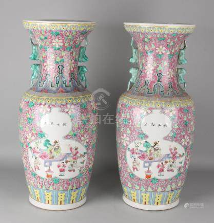 Two large old Chinese porcelain Family Rose vases with