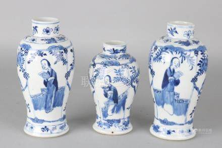 Three ancient Chinese porcelain Kang Xi-style vases