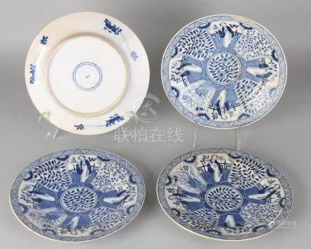 Four antique porcelain plates with Chinese floral