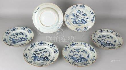 Six times 18th century Chinese porcelain plates with