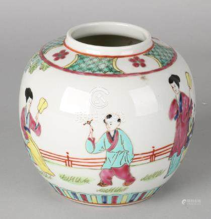 Old Chinese porcelain ginger jar with Family Rose