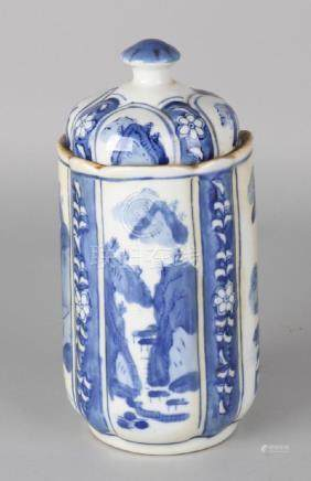 Old Chinese porcelain covered jar in Kang Xi style,