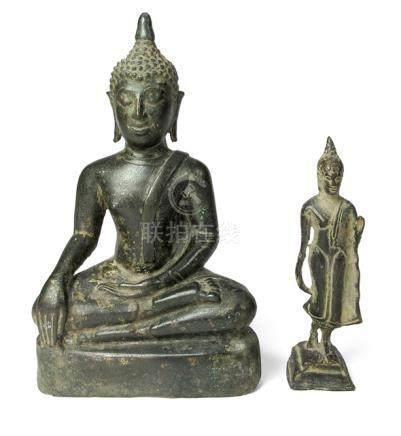 ZWEI BUDDHA, BRONZE, THAILAND,