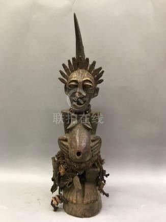 Songye Horn Fetish Nkisi Power Statue