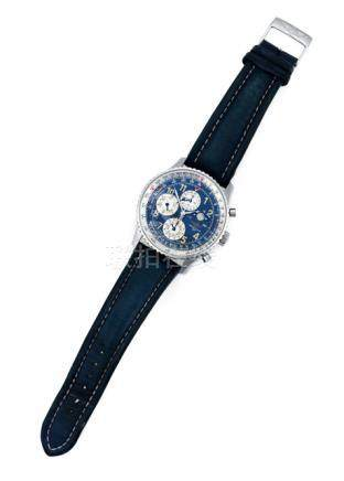 Defekter Breitling Navitimer. Automatic movement; hour, minute, second, chronograph; blue dial with