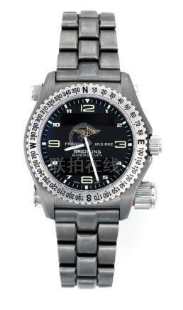 Breitling Emergency Ref. E561211. Quartz movement; hour, minute, emergency alarm; black dial with si