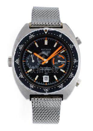 Heuer Autavia Chronograph. Automatic movement; hour, minute, second, chronograph; black dial with re