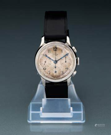 Chronograph, signed Heuer. Manual movement; hour, minute, second, chronograph; white dial with blue