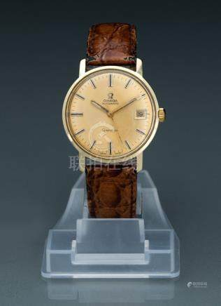 Omega wrist watch for men, Ref. 1211Automatic movement; hour, minute, second, date; golden dial with