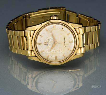 Omega Seamaster, Ref. CT 2869. Automatic movement, Cal. 501; hour, minute, second; gold dial with go