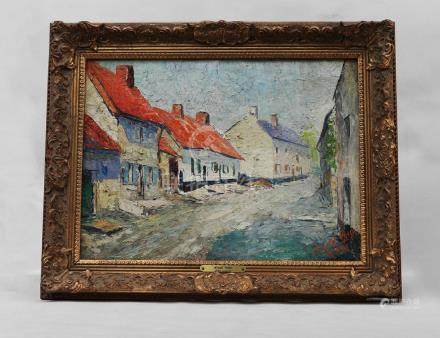 20TH CENTURY,LANDSCAPE OIL PAINTING WITH OLD WOOD