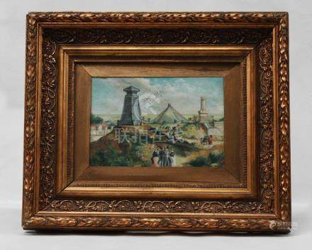 19TH CENTURY, LANDSCAPE OIL PAINTING WITH OLD WOOD