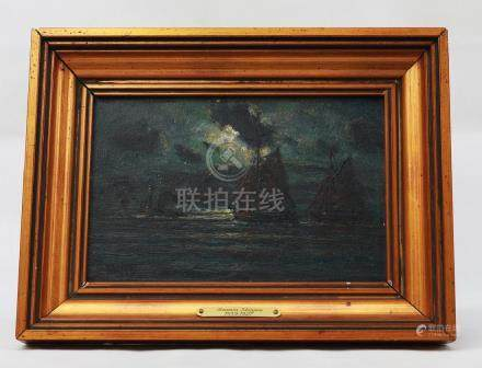 19TH CENTURY,LANDSCAPE OIL PAINTING WITH OLD WOOD