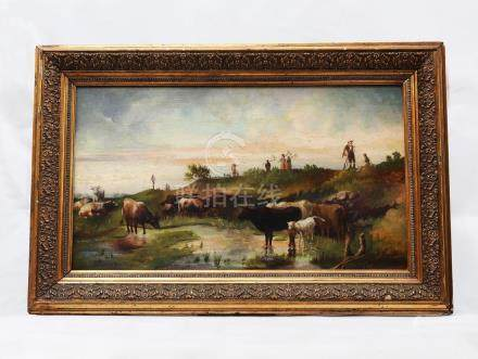 19TH CENTURY, STILL OIL PAINTING WITH OLD WOOD