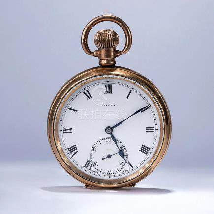 ROLEX. AN 18K GOLD OPENFACE KEYLESS LEVER POCKET WATCH
