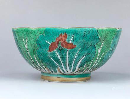 CHINESE PORCELAIN CABBAGE-LEAF BOWL