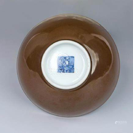 CHINESE QIANLONG BROWN-GLAZED BOWL