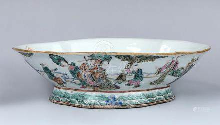 A CHINESE FAMILLE ROSE BOWL, IRON RED QIANLONG
