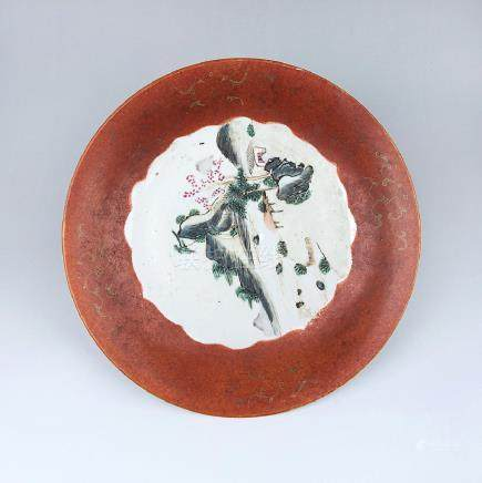 CHINESE QIANLONG MARK FAMILLE ROSE  DISH