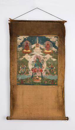 QING DYNASTY A TANGKA FIGURE OF GREEN TARA MONGOLIA